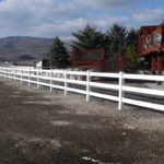 3-rail ranch white vinyl fence in Park City, Utah