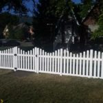 Scalloped picket fence with gate in Bountiful, Utah