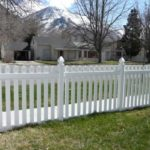 Vinyl picket fence with gothic caps in Provo, Utah